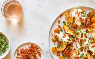 Salad of the Month: Burrata with Peaches + Prosciutto