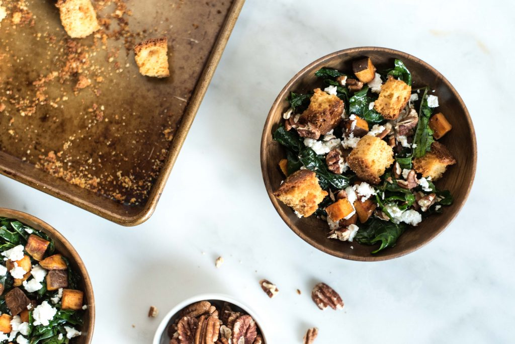 Kale + Sweet Potato Salad with Cornbread Croutons