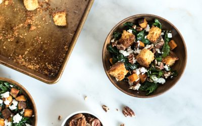 Salad of the Month: Kale + Sweet Potatoes with Cornbread Croutons